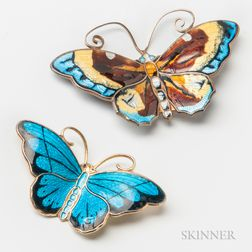 Two Norwegian Gilt Sterling Silver and Enamel Butterfly Brooches