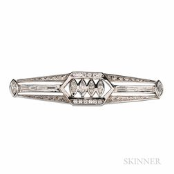 14kt White Gold and Diamond Brooch