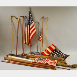 Group of Canes, Baseball Bats, Fly Rods, and Vintage U.S. Flags