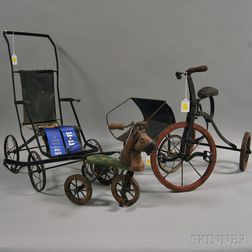 Two Iron Doll Strollers and Two Small Tricycles
