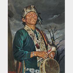 Harold Harrington Betts (American, 1881-1951)      Portrait of a Navajo Drummer