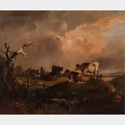 William Otis Bemis (American, 1819-1883)      Cattle at Pasture