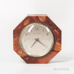 Tiffany & Co. Octagonal Variegated Marble Desk Clock
