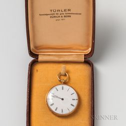 Swiss 18kt Gold Open-face Pocket Watch