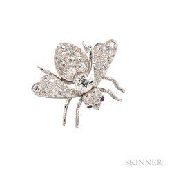 Platinum and Diamond Bee Brooch