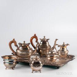 Seven-piece Portuguese Silver Tea and Coffee Service
