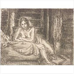 John Sloan (American, 1871-1951)  Nude Leaning Over Chaise
