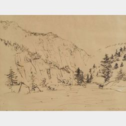 Mitchell Jamieson (American, b. 1915)    Green River at Flaming Gorge, Utah.