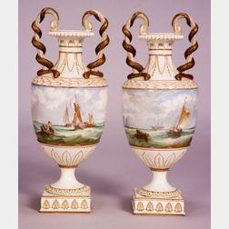 Pair of Wedgwood Marine Painted Pearlware Vases