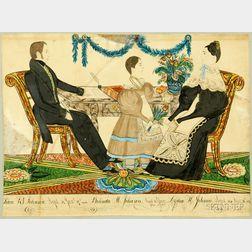 Attributed to Joseph H. Davis (American, 1811-1865) Portrait of John B. Johnson. Aged 34 Jany 17th 1836. Beli...
