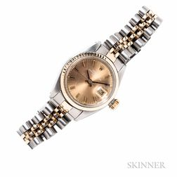 """Lady's Stainless Steel and Gold """"Oyster Perpetual Date"""" Wristwatch, Rolex"""