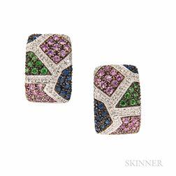 14kt White Gold Gem-set Earrings