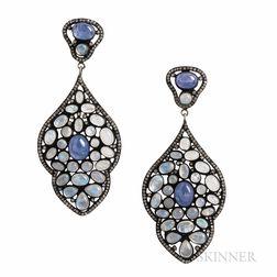 Moonstone, Tanzanite, and Diamond Earrings