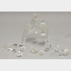 Ten Small Swarovski Cut Crystal Animal Figurines