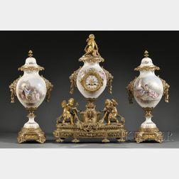 """""""Sevres"""" Gilt-bronze Mounted Three-piece Clock Garniture"""