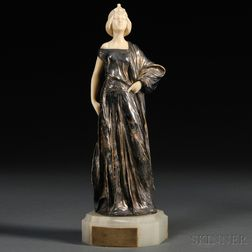 Possibly After Luca Madrassi (Italian, 1848-1919)       Silvered Bronze and Ivory Figure of Theodora