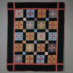 Amish Pieced Cotton Snowball Pattern Quilt