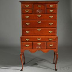 Queen Anne Fan-carved Cherry High Chest of Drawers