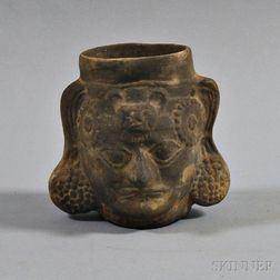 Chimu Blackware Portrait Vessel