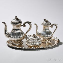 Three-piece Austrian .800 Silver Tea and Coffee Service with Associated Silver Tray