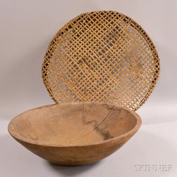 Turned Wood Bowl and a Grain Sieve