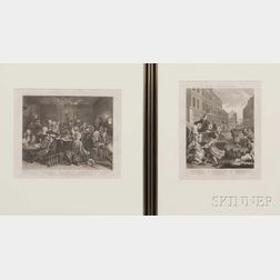 William Hogarth (British, 1697-1764)      Two Framed Prints:  Second Stage of Cruelty