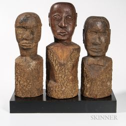 Three Carved Portrait Heads