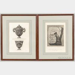 Giovanni Battista Piranesi (Italian, 1720-1778) and Francesco Piranesi (Italian, c. 1758-1810)  Two Framed Prints: Two Vie...