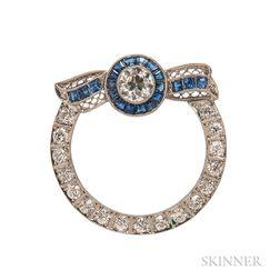 Platinum and Diamond Circle Pin