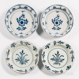Two Pairs of Floral-decorated Tin-glazed Earthenware Plates