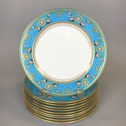 Set of Ten Minton Porcelain Cake Plates