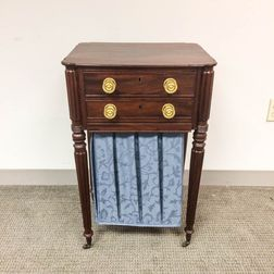 Classical Upholstered Mahogany Sewing Stand