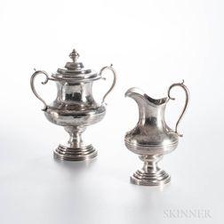 Coin Silver Covered Sugar Urn and Cream Jug