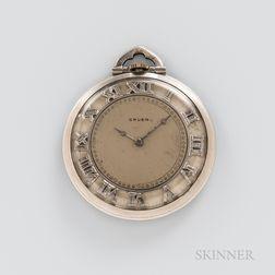Gruen Art Deco Open-face Platinum Watch