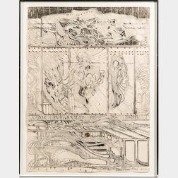 Krystyna Smiechowska (Polish, b. 1935)      Abstract Surrealist Print.