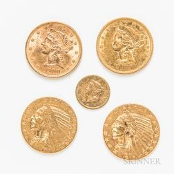 Four $5 Indian and Liberty Head Gold Coins and an 1853 Gold Dollar