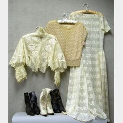 Edwardian Lace Trimmed Embroidered White Cotton Day Dress, a Victorian White Lace Chemise, and a 1920s Era Croc...