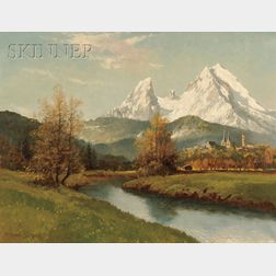 German School, 20th Century      View of a Northern European Town.