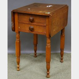 Country Classical Cherry Drop-leaf Two-drawer Work Table.