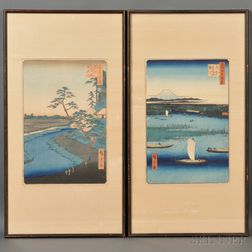 Two Woodblock Prints from One Hundred Famous Views of Edo