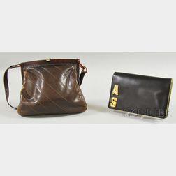 Vintage Brown Fendi Handbag and Black Judith Leiber Clutch