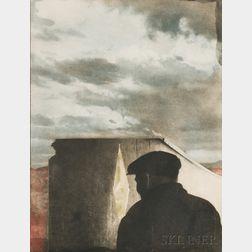 Joseph Cornell (American, 1903-1972)      Untitled (Landscape with Figure)