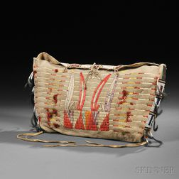 Possible Lakota Quilled and Beaded Buffalo Hide Bag