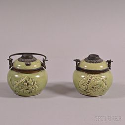Pair of Celadon-glazed Oil Lamps