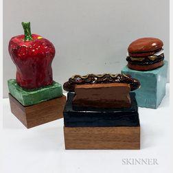 Aaron Fink (American, b. 1955)      Three Ceramic Sculptures: Hotdog ,  Hamburger