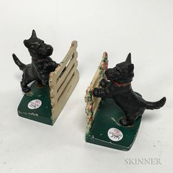 Pair of Polychrome Cast Iron Scottie Dog at Fence Bookends