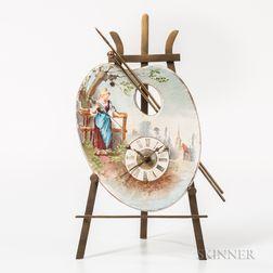 French Painted Porcelain Alarm Desk Clock