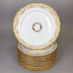Set of Twelve Limoges Gilt-rimmed Porcelain Dinner Plates