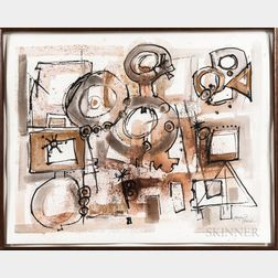 Two Framed Mixed Media Works on Paper:      Karl Hagedorn (American, 1922-2005),   Contraposita