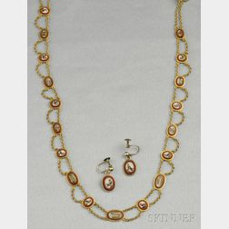 Antique Gold and Micromosaic Necklace